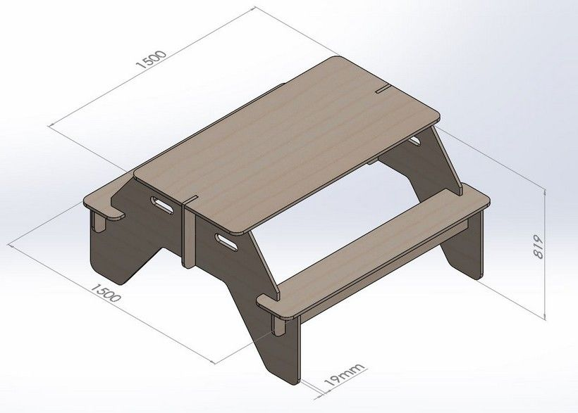 Table With Benches Project To Cut on CNC Router Vector DXF File