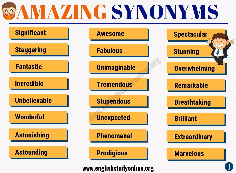 amazing synonym list of