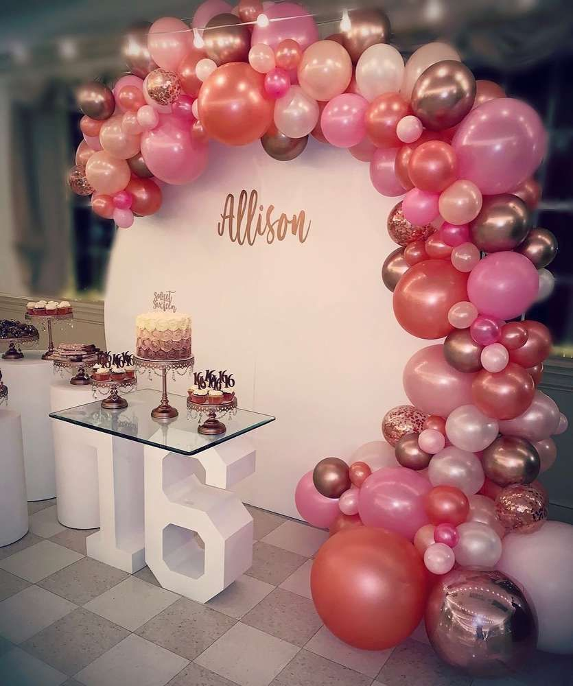 Rose Gold Sweet 16 Birthday Party Ideas Photo 3 Of 19 Sweet 16 Party Decorations 16th Birthday Decorations 15th Birthday Party Ideas