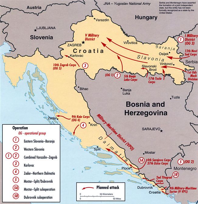 Yugoslav Plan For An Offensive On Croatia 1991 Via Maps On The Web Wwii Maps Croatia Map