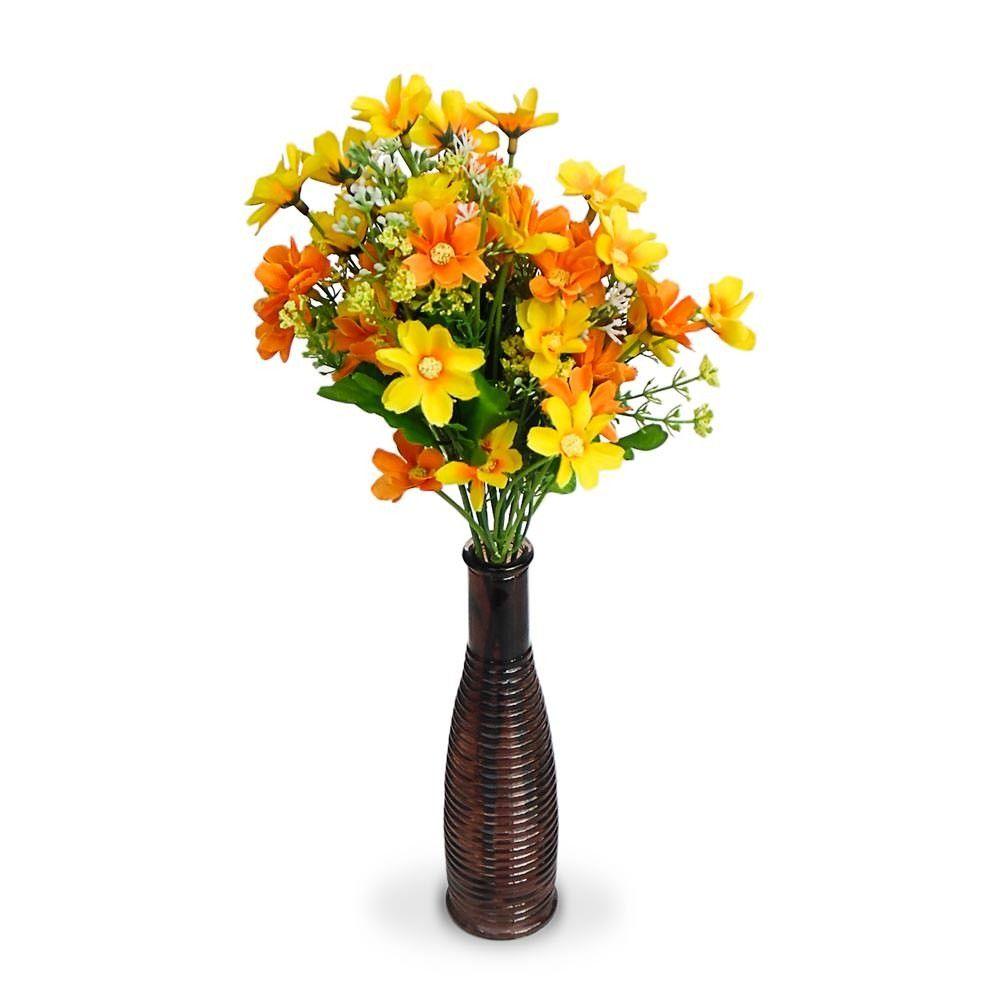 Arranjo De Flores Artificiais Margaridas Na Garrafa De Vidro