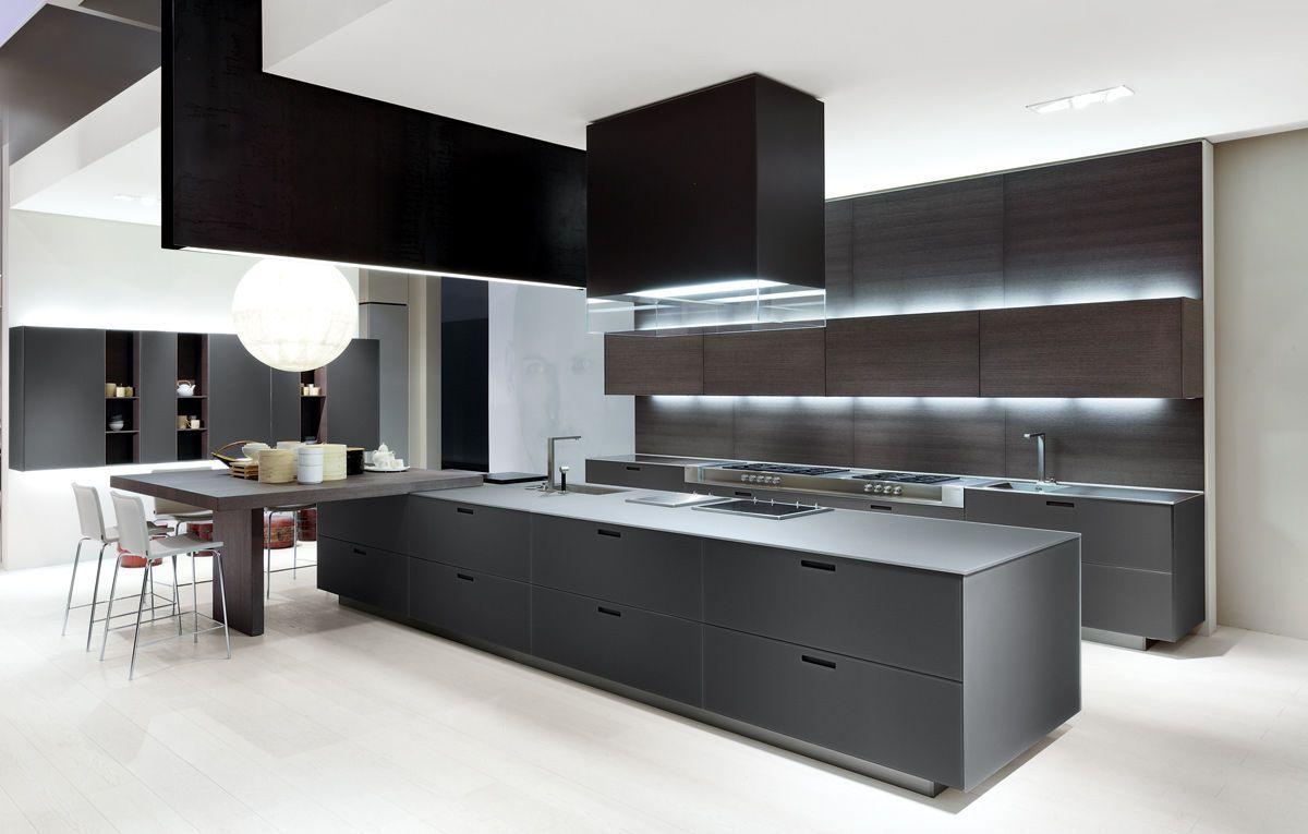Cocina moderna de madera con isla lacada kyton - Cocinas con islas modernas ...