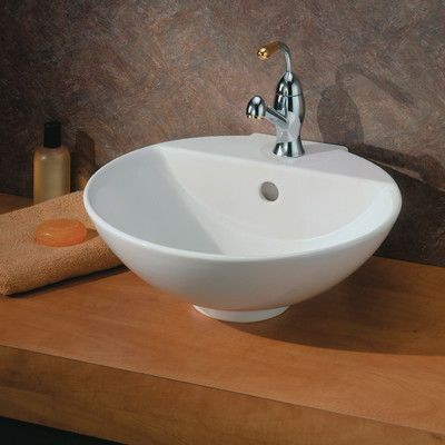 Cheviot Products York Ceramic Circular Vessel Bathroom Sink with - Vessel Sinks Bathroom