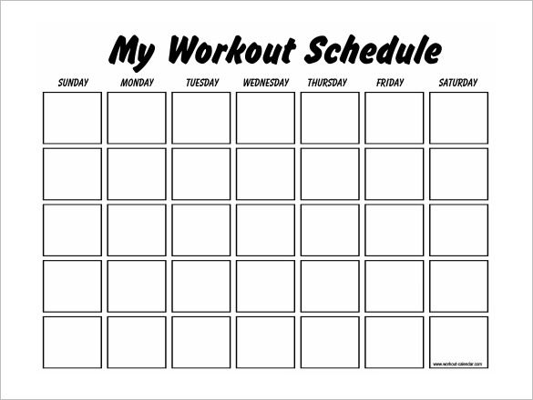 Printable Blank Workout Schedule Template Exercise Calendar \u2013 kensee