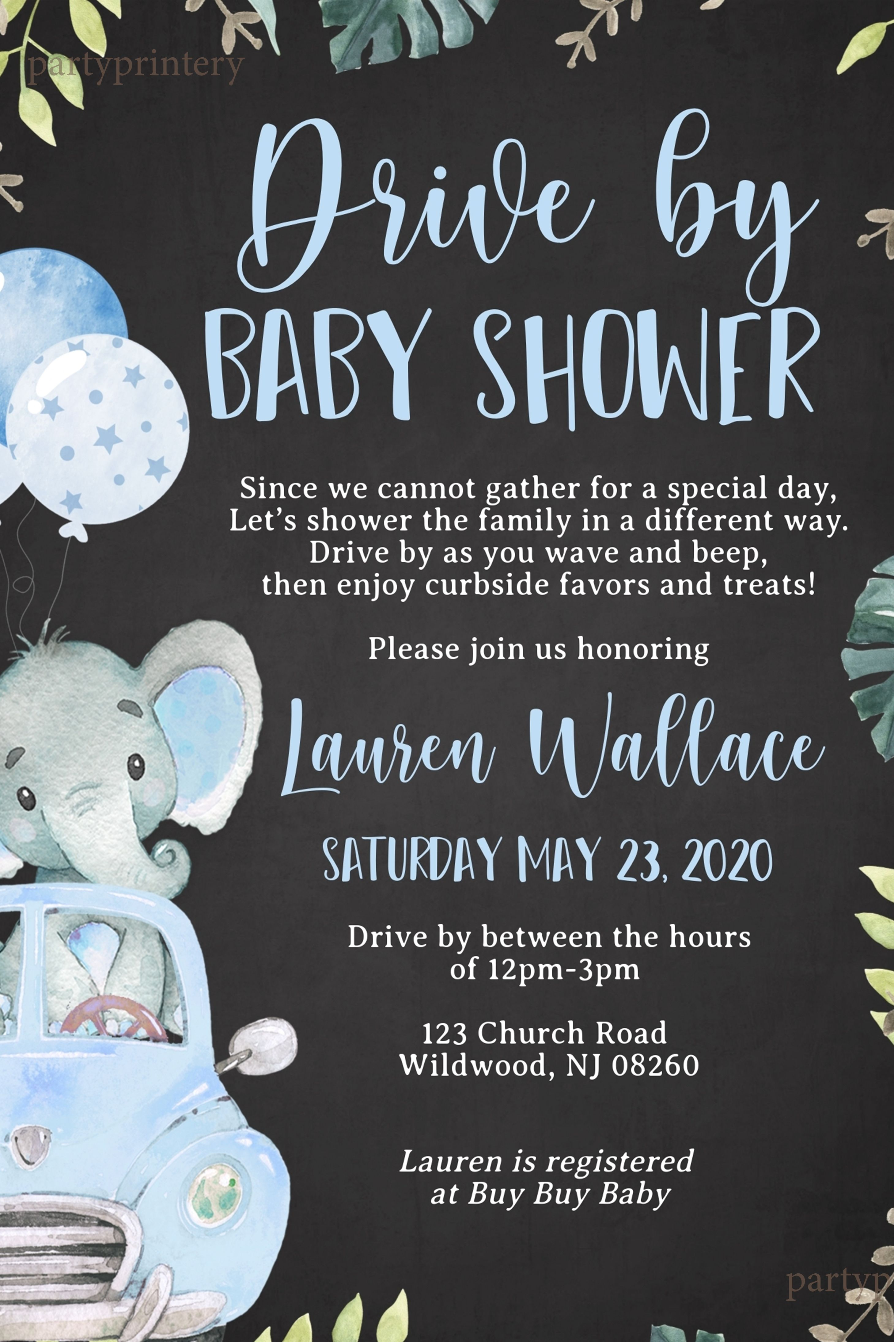Drive By Baby Shower Invitations For Boys With Elephants Etsy In 2020 Baby Shower Invitations For Boys Baby Shower Elephant Baby Showers