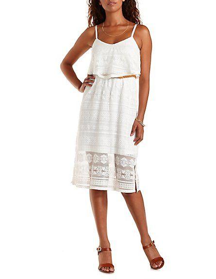 60640626b74c Belted Lace Midi Dress | Just White ❣ | Dresses, Lace midi dress ...