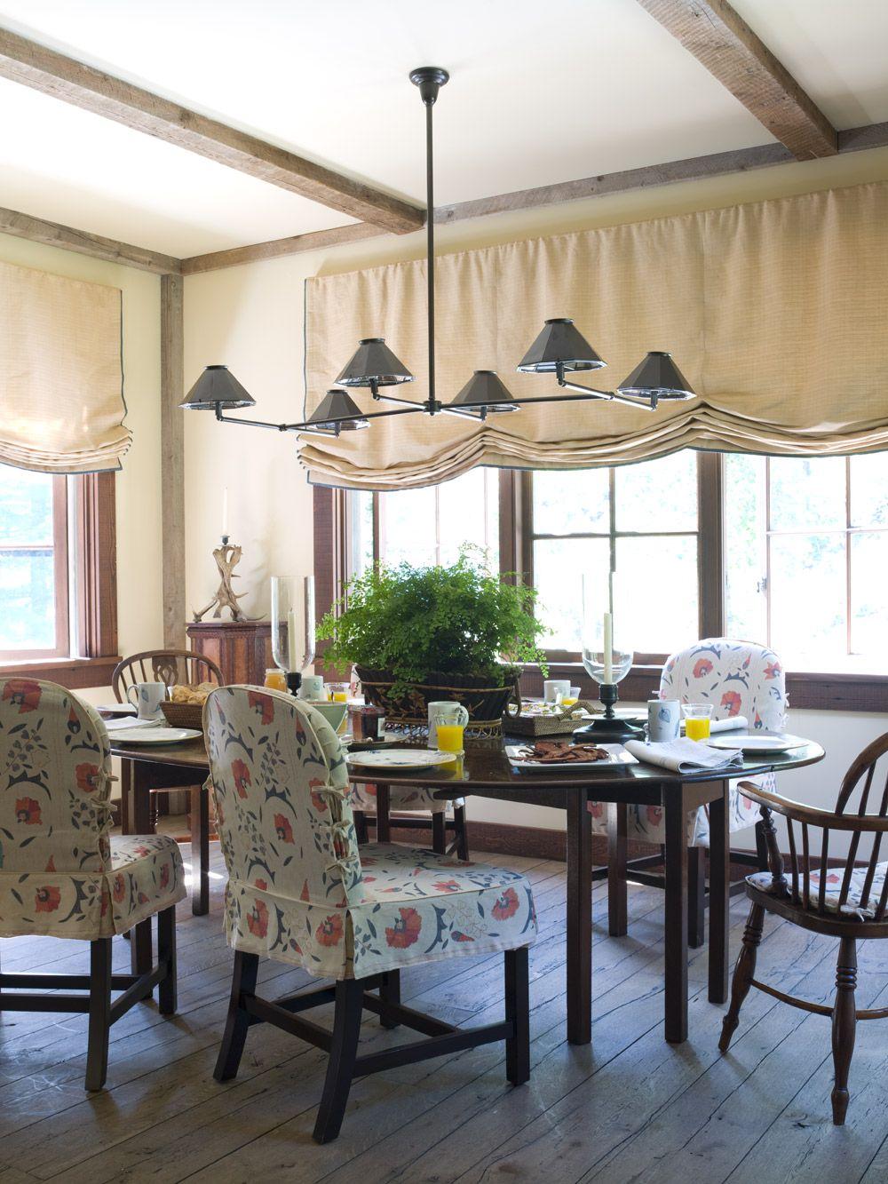 Window coverings of idaho  mountain retreat dining room photo by pieter estersohn  drapery