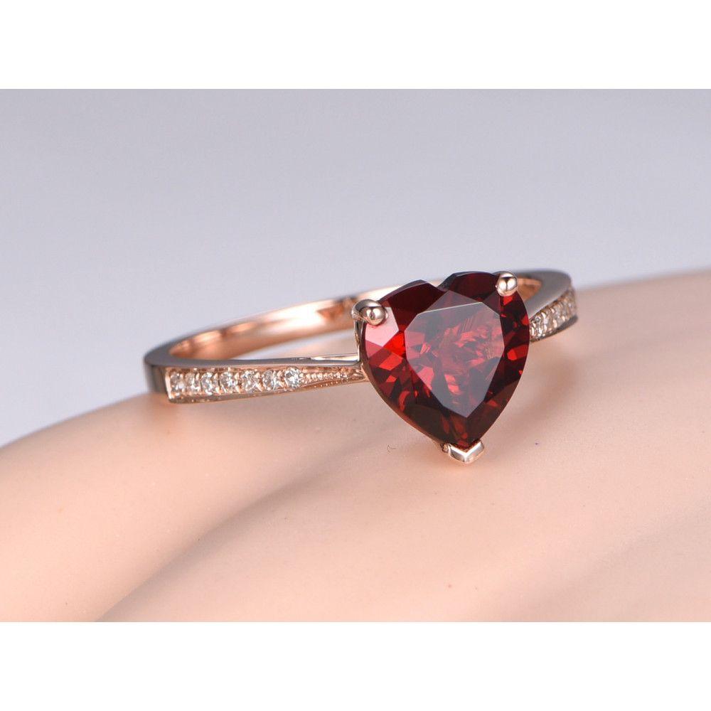8mm Heart Shaped Garnet And Diamond Engagement Ring 14k Rose Gold