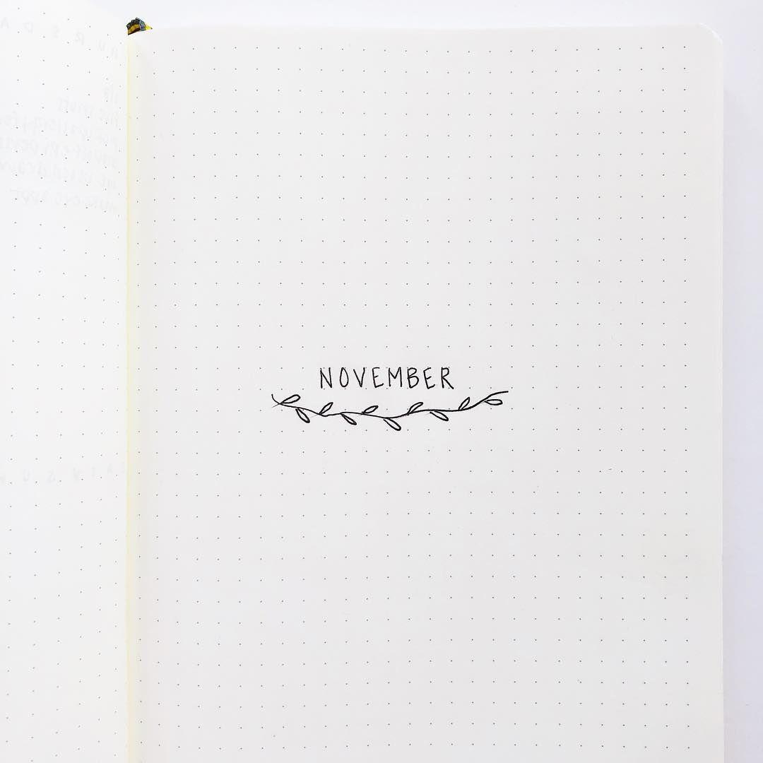 Bullet journal monthly cover page,  November cover page,  minimalist bullet journal monthly cover page,  leaf doodles,  plant doodle.    @fourdotspaper #septemberbulletjournalcover