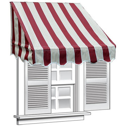 Aleko 8 X 2 Window Awning Door Canopy Multistripe Red White Window Awnings Door Awnings Door Canopy