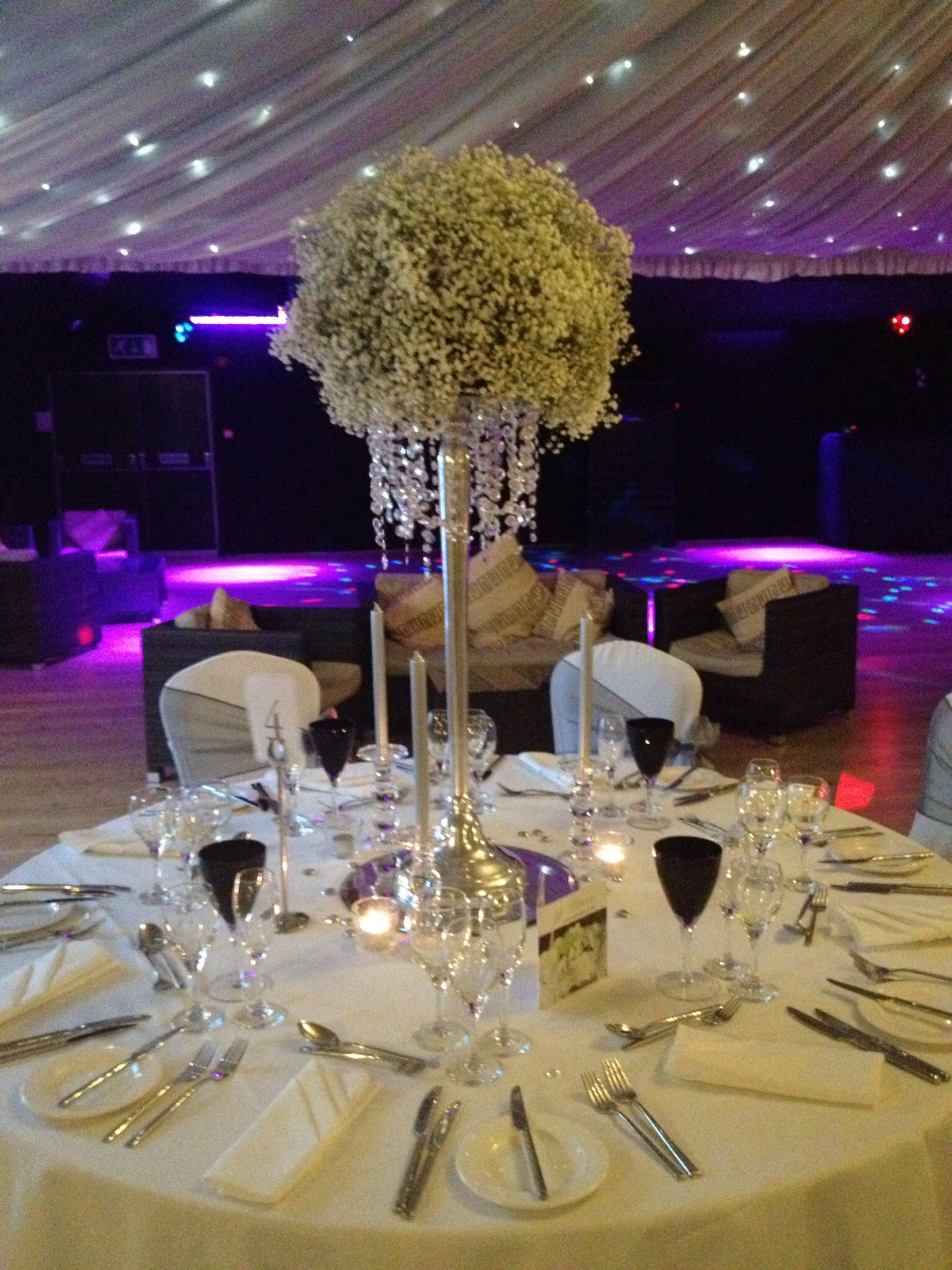 Table centrepiece gypsophila w flowers Essex