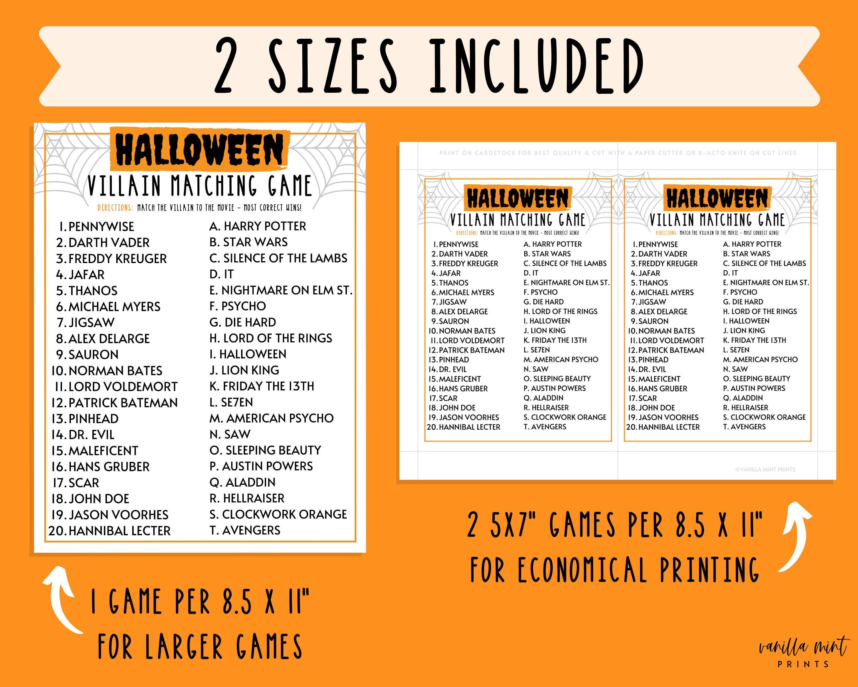Halloween Villain Matching Game Halloween Printable Games Etsy In 2021 Fun Halloween Party Games Halloween Villain Fun Halloween Games