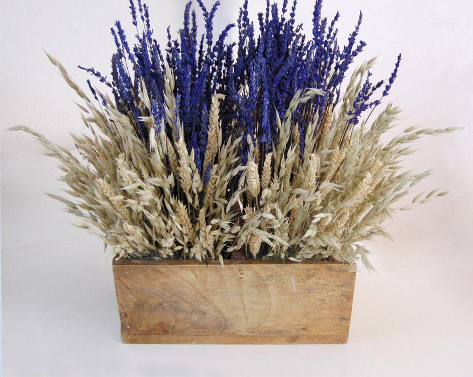 Utiliza flores secas para tu centro de mesa r stico trigo avena lavanda centros flores secas - Plantas secas decoracion ...