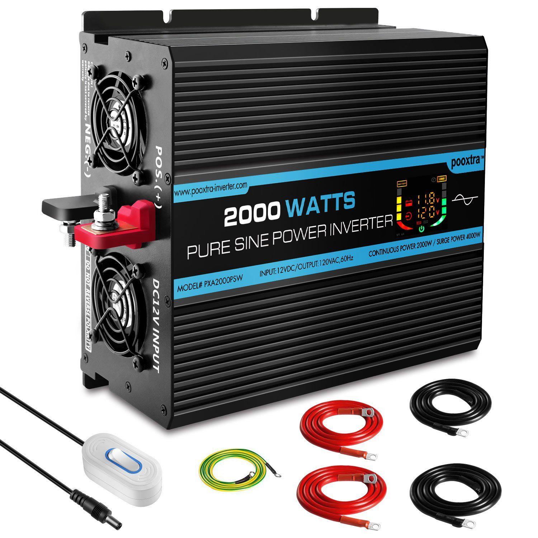 Pooxtra Pure Sine Wave Power Inverter 2000w 4 Ac Outlets 12v Dc To 120v 110v