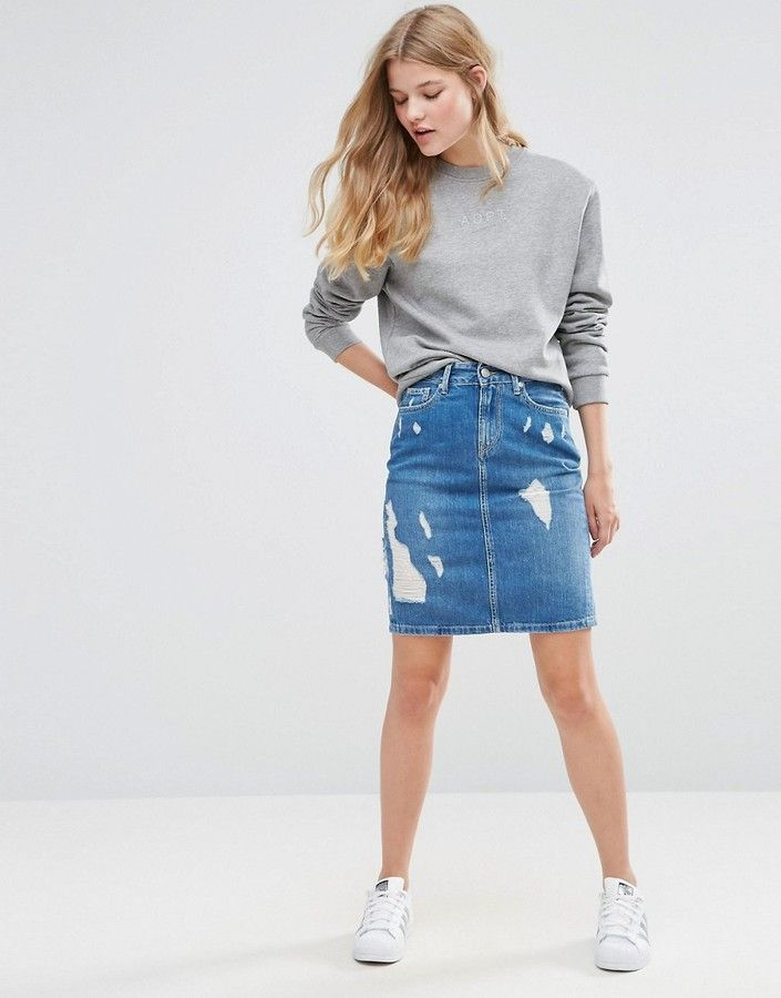 Pepe Jeans Penny Ripped Denim Pencil Skirt | Skirts | Pinterest ...