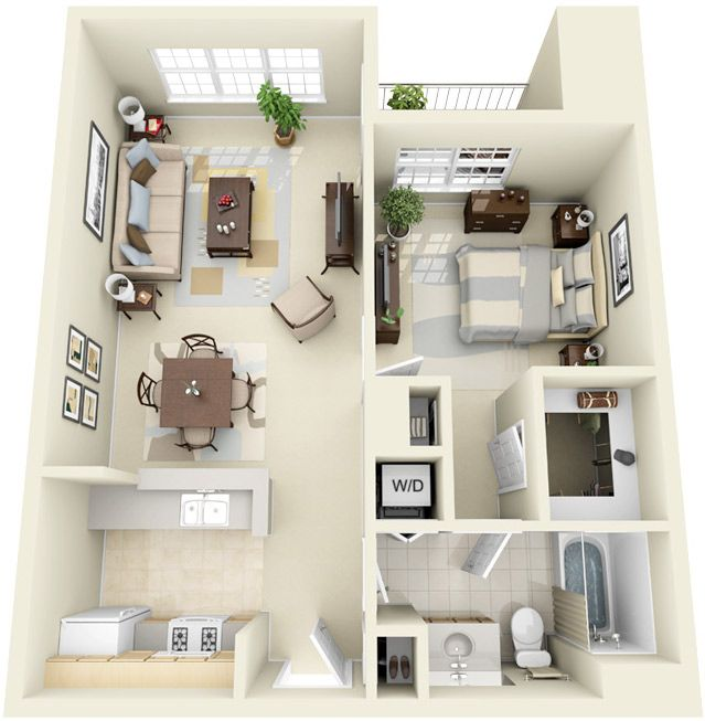 Fantastic 3d One Apartment Floor Plans With Ideal Living Space Design And Stylish Fur Apartment Floor Plans Apartment Furniture Layout Bedroom Furniture Layout