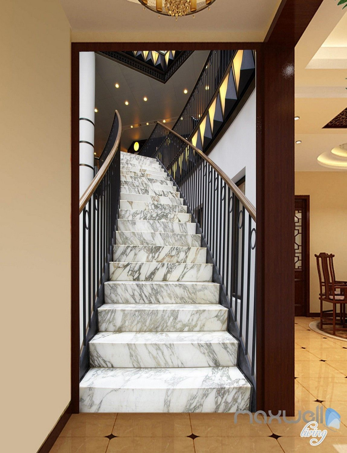 Best 3D Modern Marble Stairs Corridor Entrance Wall Mural 640 x 480
