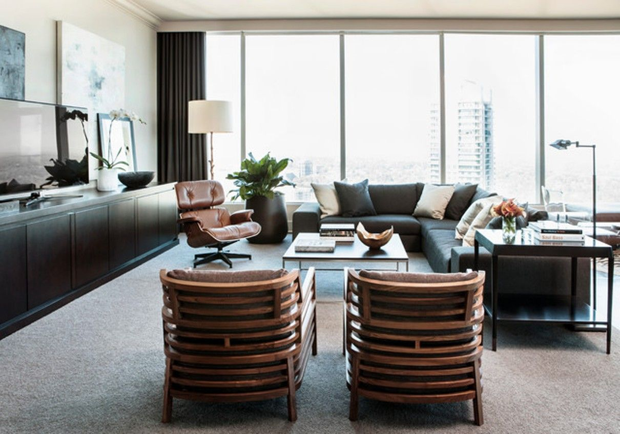 Contemporary Living Room High Rise Modern Furniture Urban Masculine Transitional