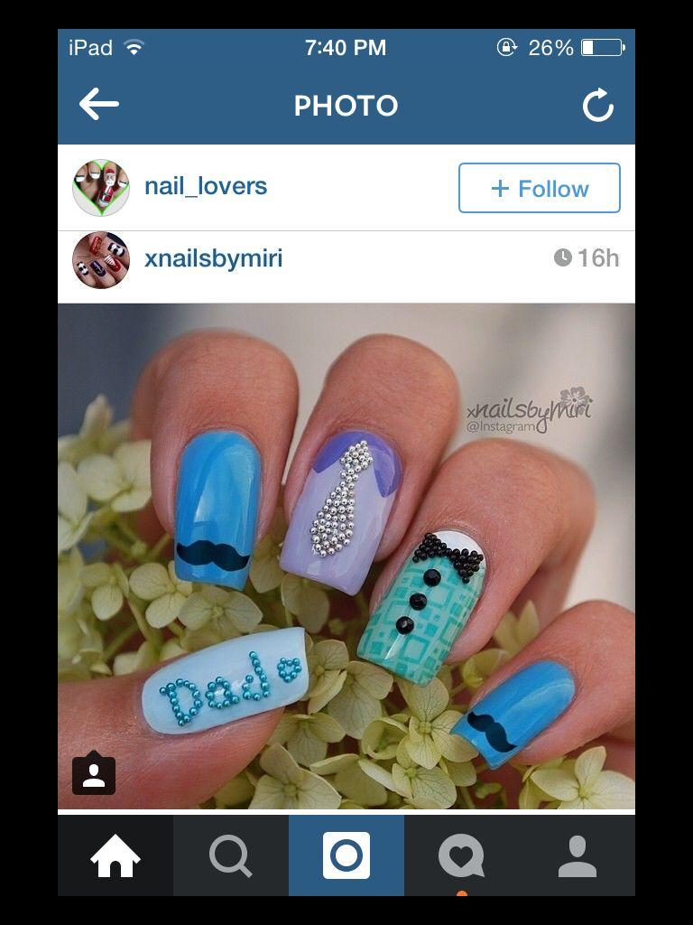 Cute idea for Father\'s Day!! (This is a mani nail idea from IG- I\'ve ...
