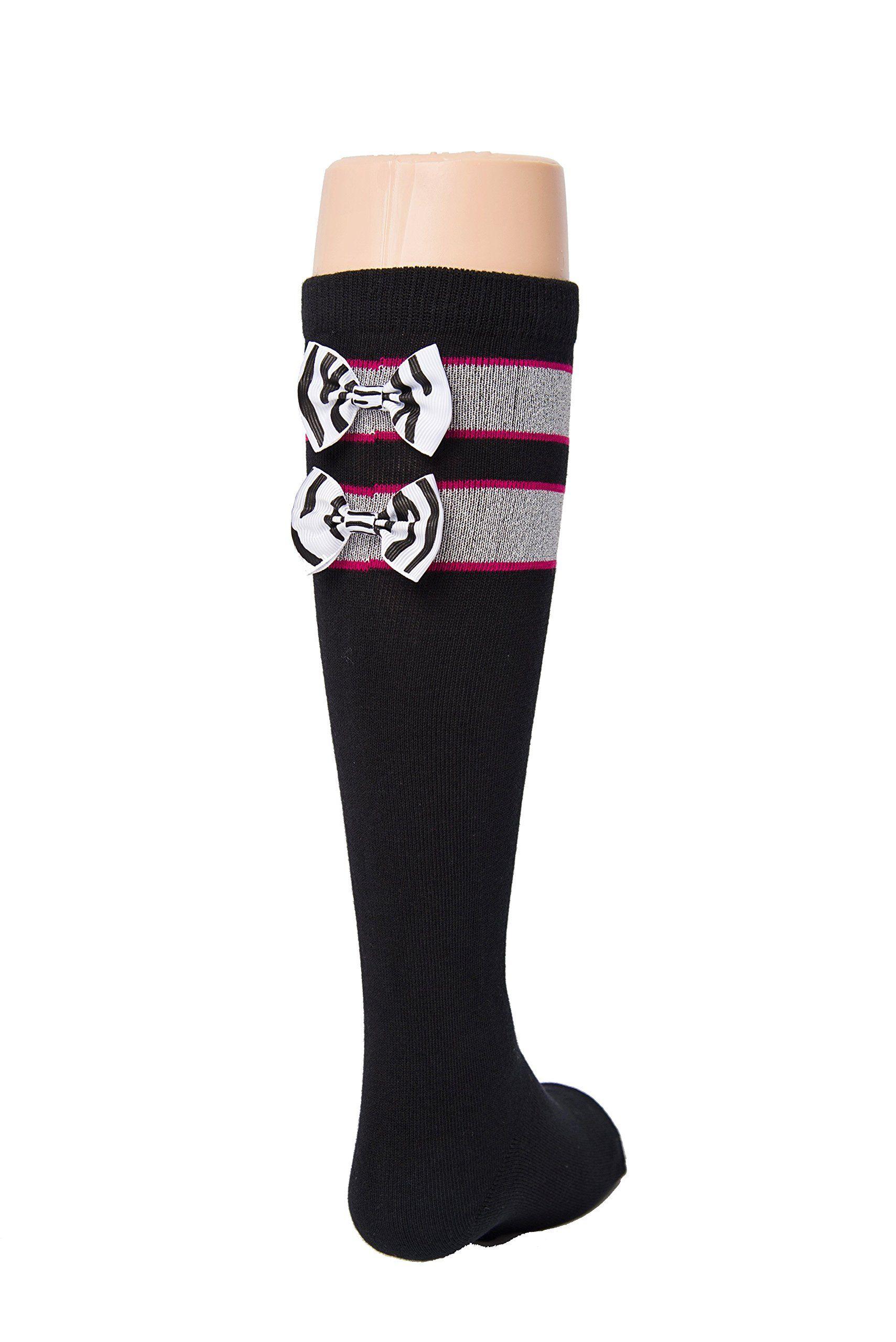 Black Tot Jocks Girls Sports Socks Pink Black And Silver With Zebra Print Bow Kids Size 9 2 5 Soccer Volleyball Field Sport Socks Sport Girl Softball Socks