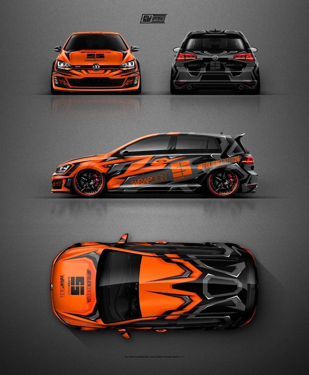 VW Golf Mk7 GTI Clubsport Orange & Grey graphics design