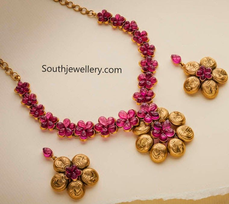 temple ruby necklace gold designers zoom buy dsc finish rose set matte designs jewellery antique creations radhas