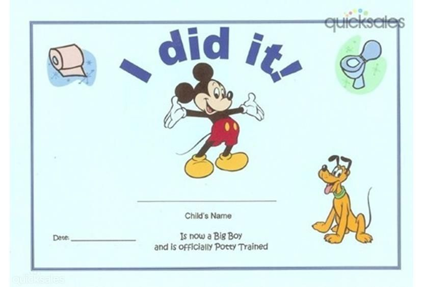 Mickey Mouse Potty Training Certificate for Boys - I did it
