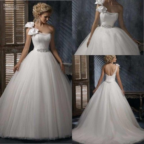 2013 elegant and hottest sale one shoulder tulle ball gown bridal ...