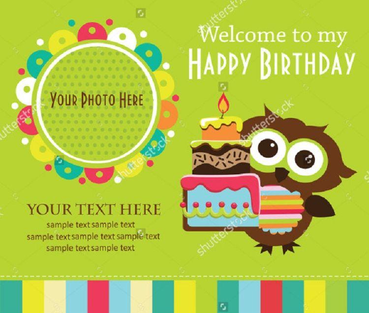 Happy Birthday Invitation Card With Photo Design Free Kids