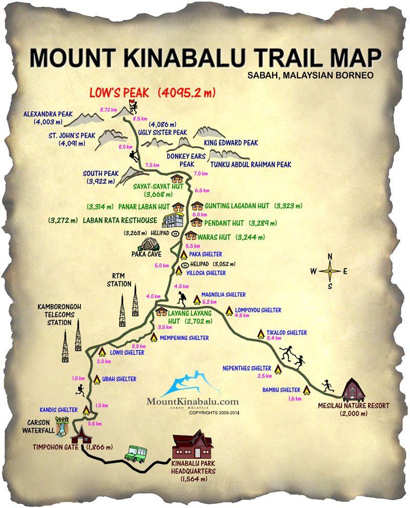 Map Mount Kinabalu Journey To Mt Kinabalu Pinterest Borneo