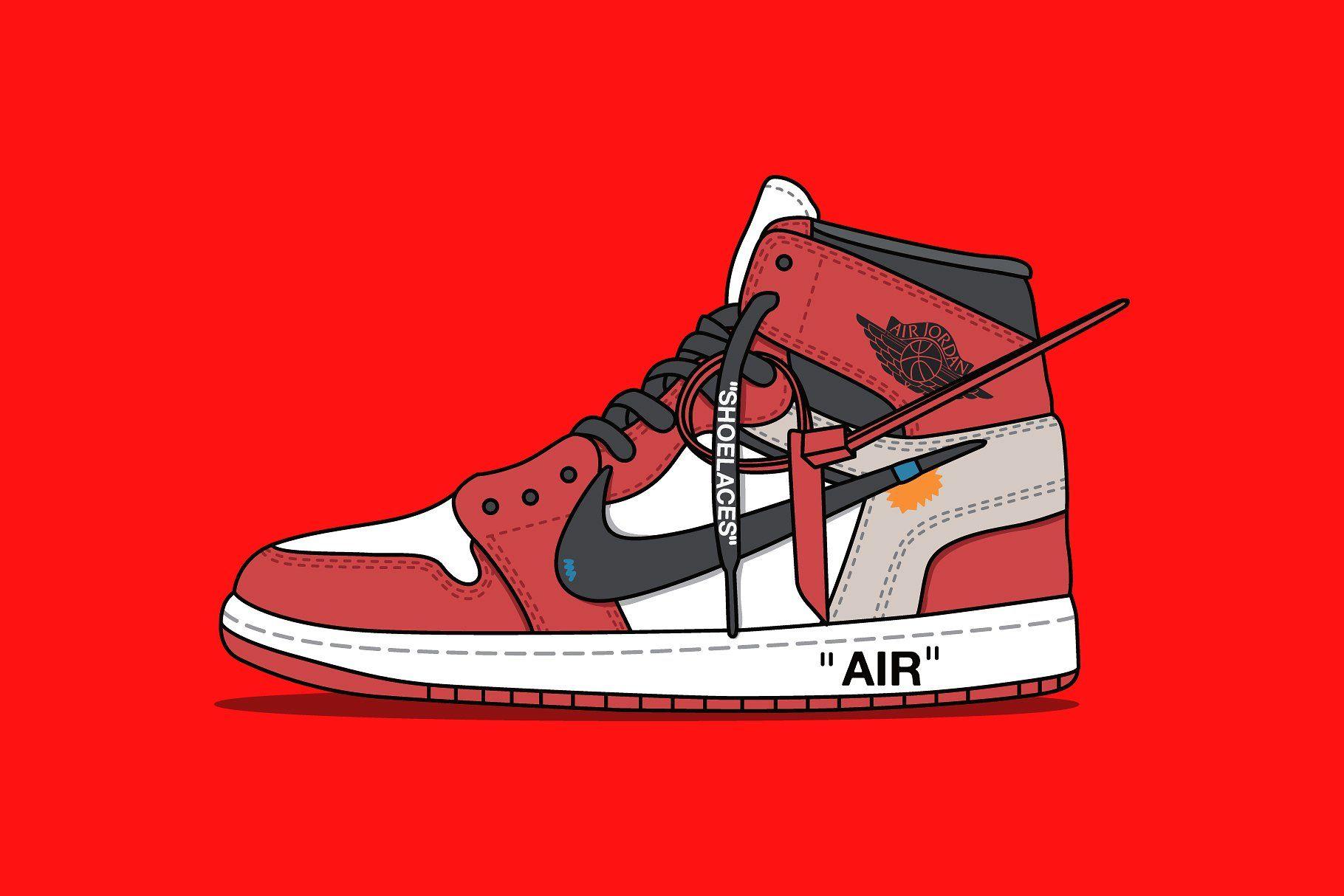 Nike x Off white Jordan Red vectorEPSJPEGfiles White
