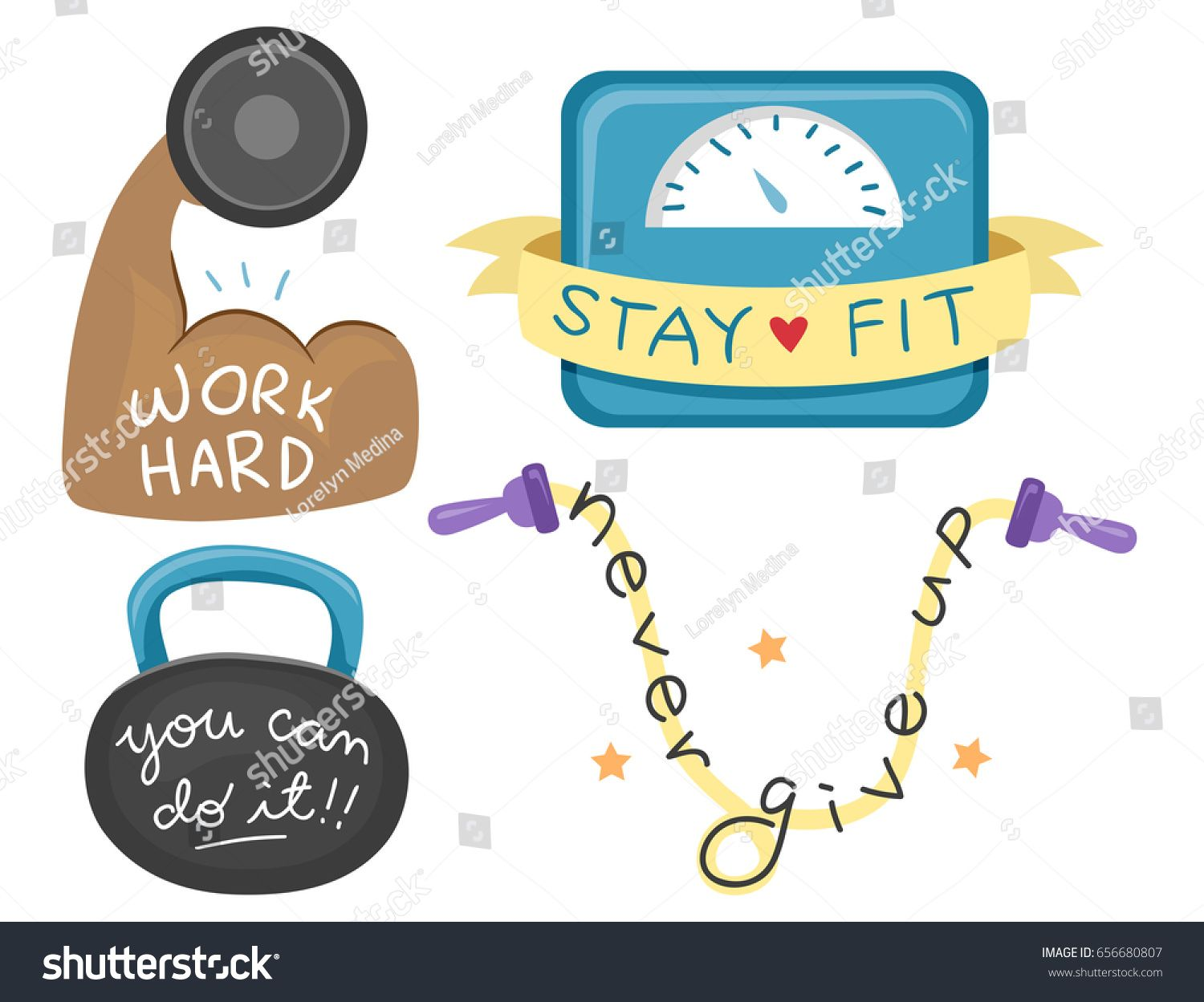 Illustration of Inspirational Texts for Exercising on Biceps, Scale, Kettlebell and Jump Rope #Ad , #ad, #Texts#Exercising#Illustration#Inspirational