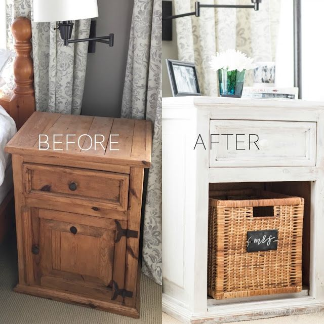 Before And After Bedside Tables Whitewashed With Chalk Paint Painted Bedside Tables Pine Furniture Makeover Bedroom Furniture Makeover