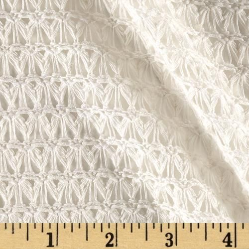 Novelty Sweater Knit Zig Zag Ivory from @fabricdotcom  This lightweight sweater knit fabric has a fluid drape and a 30% four-way mechanical stretch. It has an open knit technique, making it semi-sheer. This fabric is perfect for cardigans, layering sweaters, scarves and wraps.