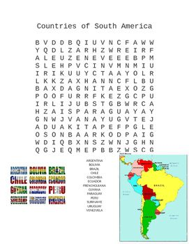 Countries Of South America Word Search Words South America