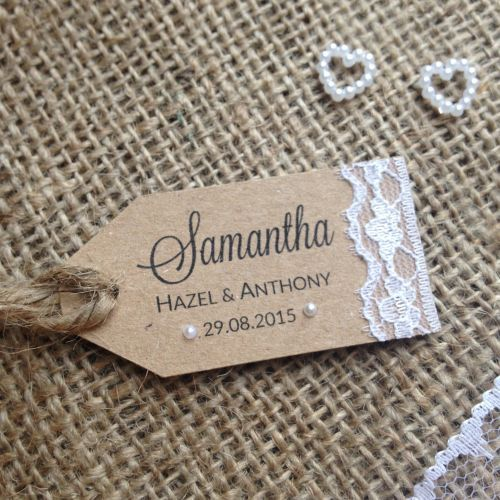 Rustic Lace Tag Wedding Place Cards Giftwrappedandgorgeous Co Uk