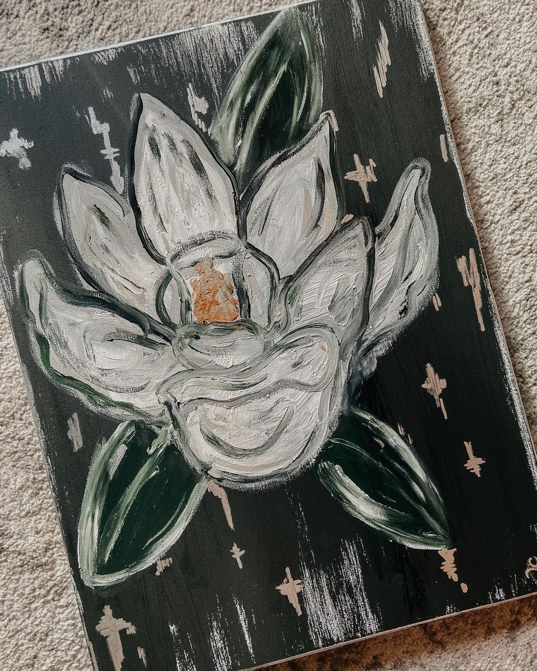 "The Messy Armadillo on Instagram: ""Silver leafed magnolia custom ✔️ #magnolia #silver #handpainted #leaf #canvasart #homedecor"""