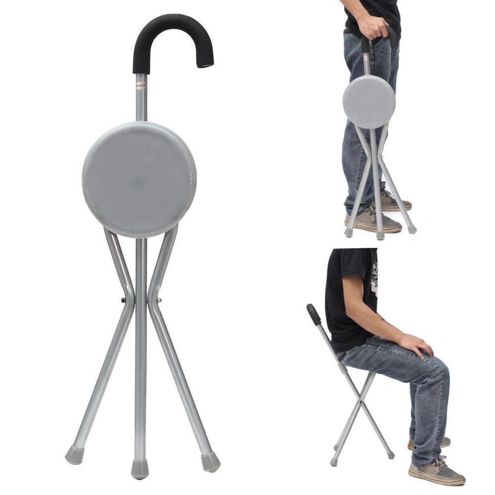 Outdoor Folding Stool Chair Portable Tripod Cane Walking