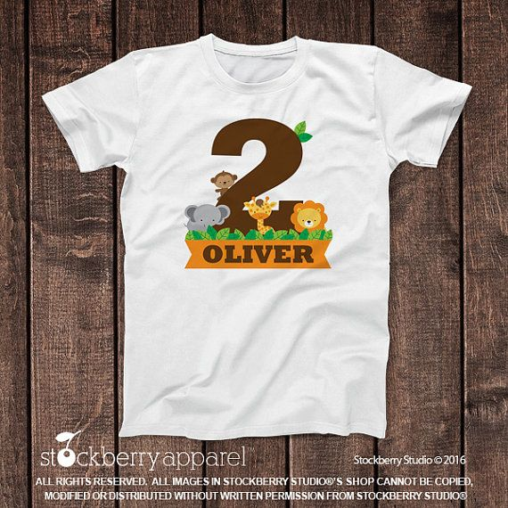 Personalized 2 Year Old Safari Jungle Birthday Shirt ITEM DESCRIPTION 1
