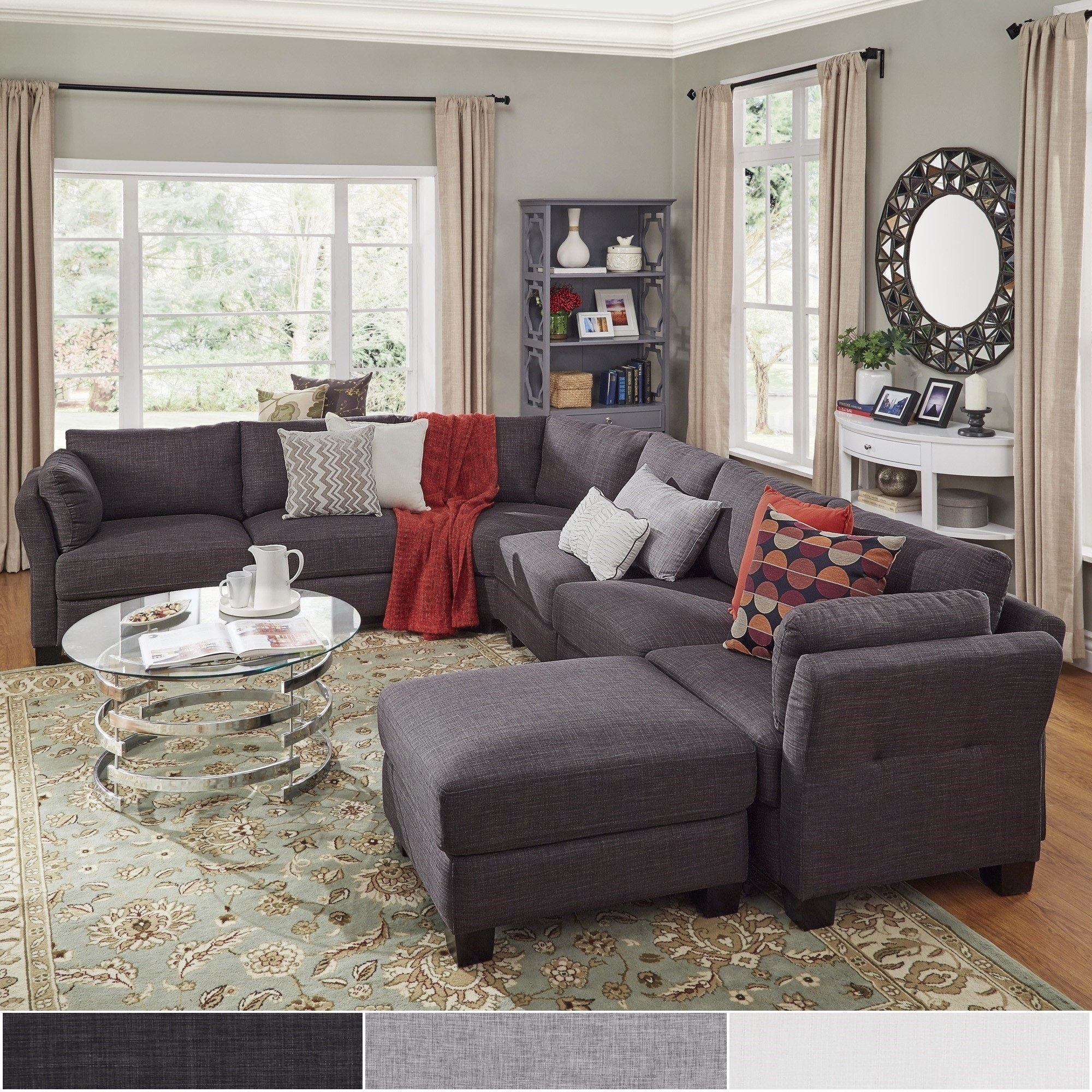 Elize U-Shaped 7-Seat Linen Fabric Modular Sectional Seating by iNSPIRE Q  Bold by iNSPIRE Q