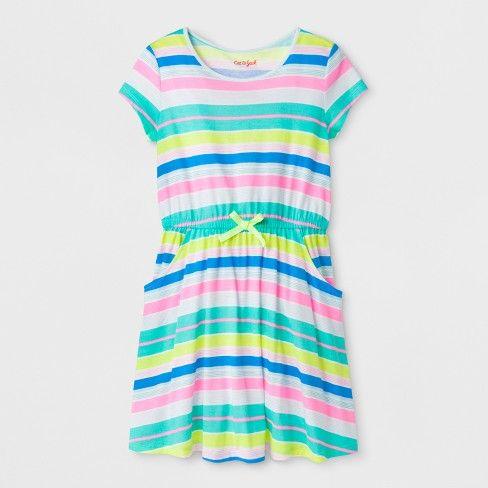 1bec3a6d662 Girls  Short Sleeve Stripe Dress - Cat   Jack™   Target