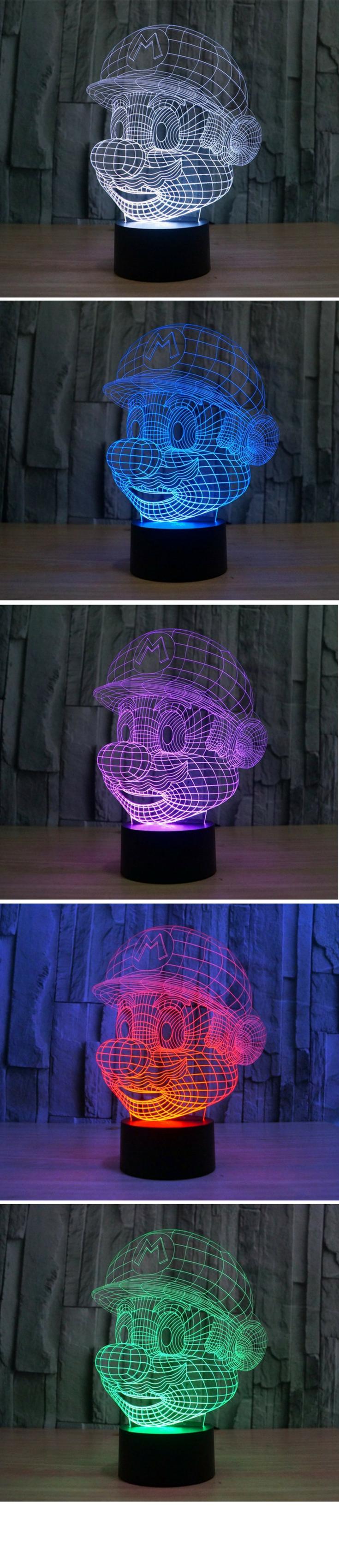 Super Mario 3D Hologramm Lampe mit Farbwechsel   Super Mario ...