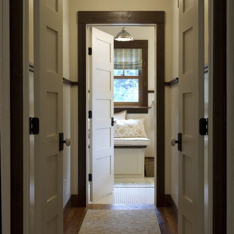 White Door Design Ideas Pictures Remodel And Decor Dark Wood Trim Guest Bedroom Remodel Stained Wood Trim