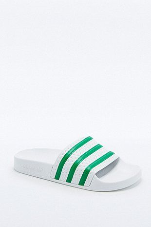 adidas Originals Adilette White and Green Striped Pool Sliders