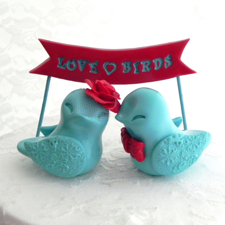 Wedding cake topper love birds poppy red and aqua love bird banner