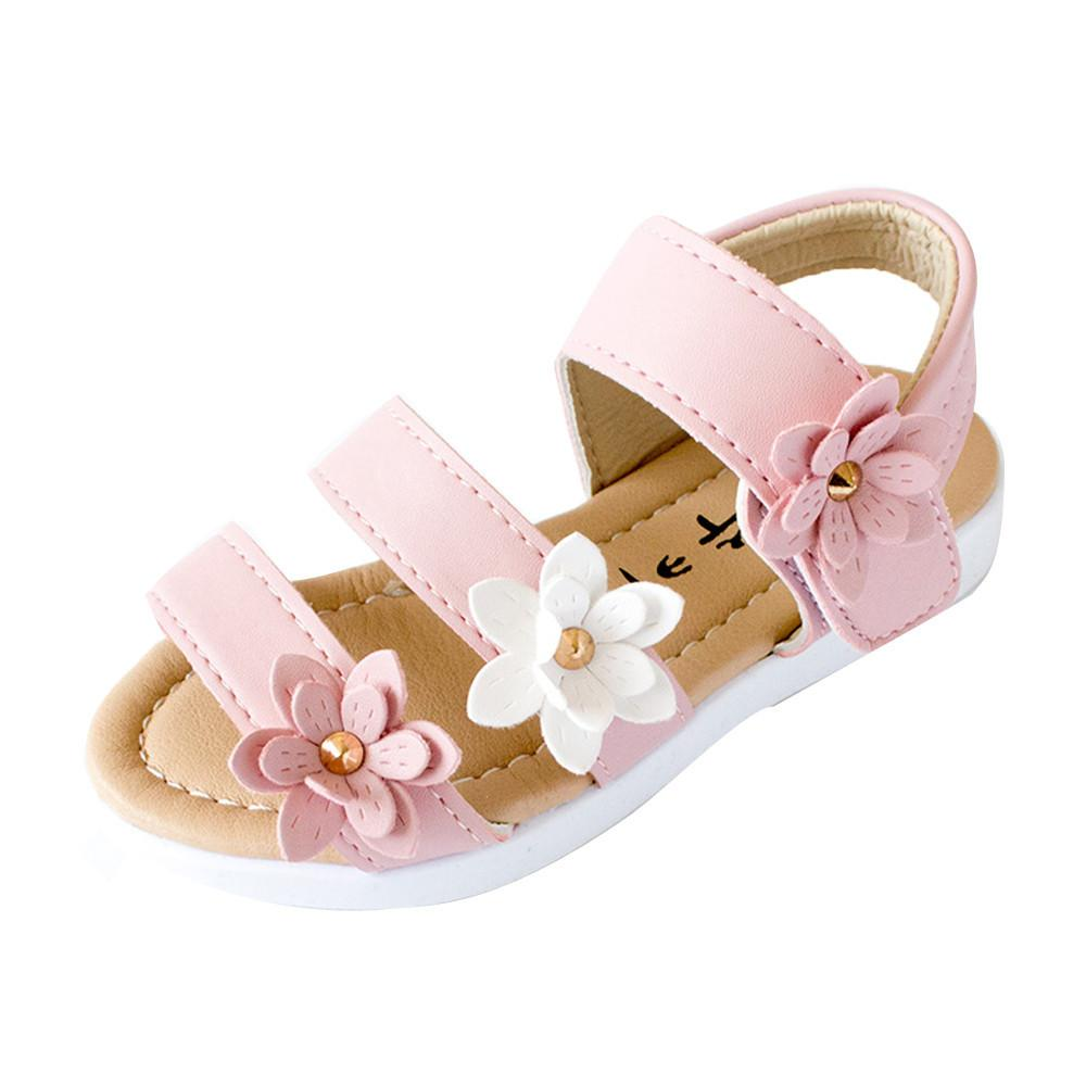7b3766d16219 Girl s Big Flower Decorated Sandals in 2019