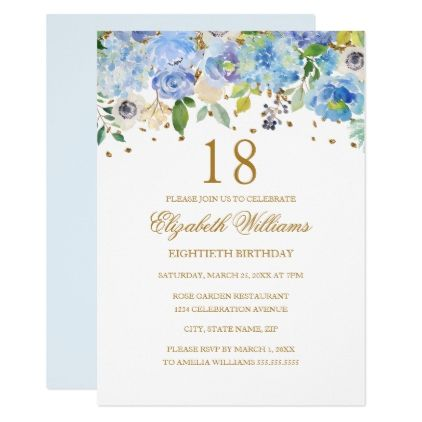18th birthday elegant blue gold floral invitation 18th birthday elegant blue gold floral invitation birthday invitations stopboris Image collections