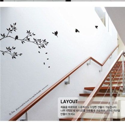 Fashion Willow Branch And Birds Pattern PVC TV Background Staircase Wall  Sticker Home Decor