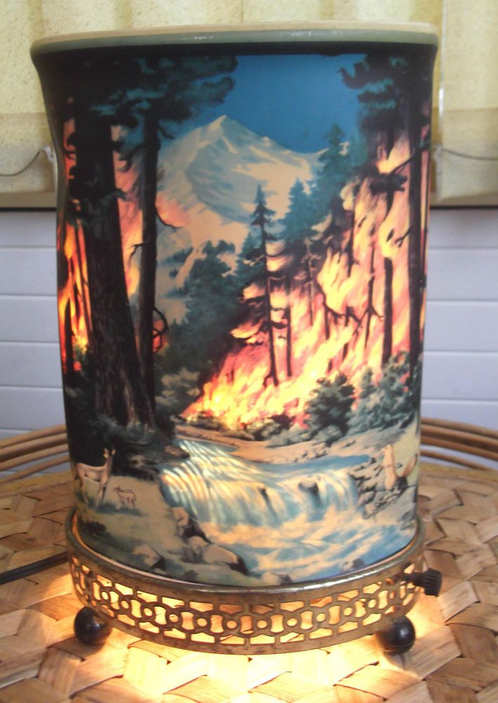 Econolite Lamp Forest Fire Waterfall Revolving Scene C 1950s Working Order In Home Furniture Diy Lighting Lamps Ebay Lamp Motion Lights Novelty Lamp
