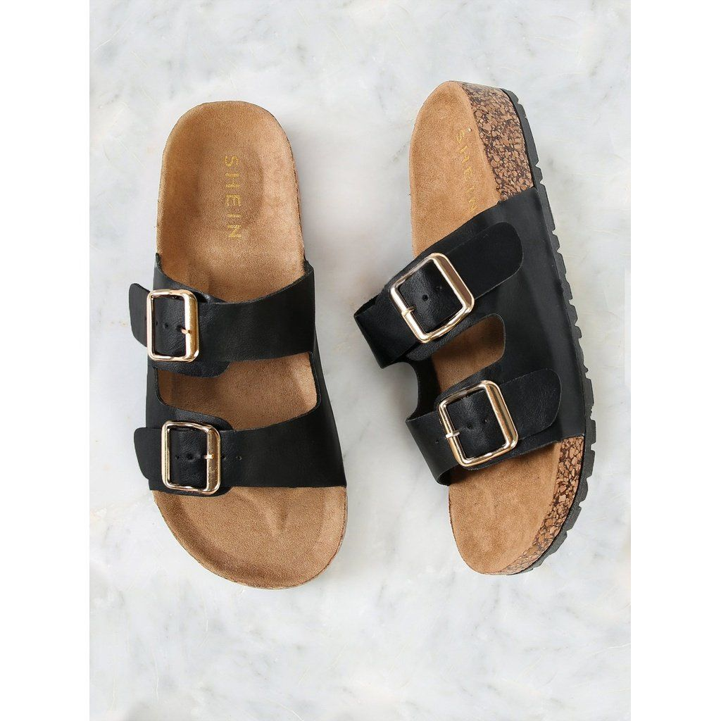 Double Buckle Cork Footbed Slide Sandal Sandals Slide Sandals Womens Sandals